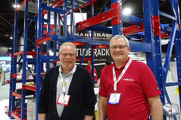 <p>Steve Dale, sales manager for Automha Americas (at left), and Blanton Bartlett, Hannibal's president, at the Hannibal booth. The alliance of the two companies recently resulted in a successful deep-lane storage solution that makes use of Hannibal's TubeRack.</p>