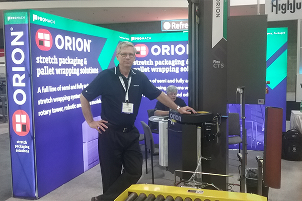 <p>Peter Vilardi, Orion Packaging&#8217;s director of marketing, presents the company&#8217;s recently enhanced Flex CTS automatic stretch wrapping system.</p>