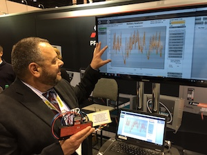 <p>Pete Bucci, eastern regional sales manager, demonstrates the real-time monitoring capabilities of DataLink3 and the Wireless Battery Identification Device.</p>