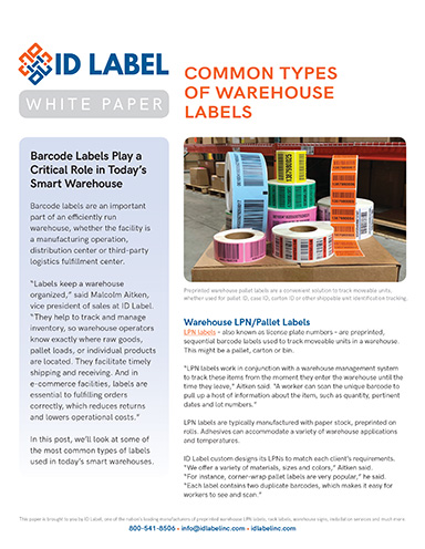 Common Types of Warehouse Labels - Supply Chain Management Review